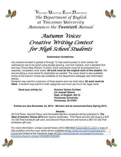 high school creative writing contests 2015